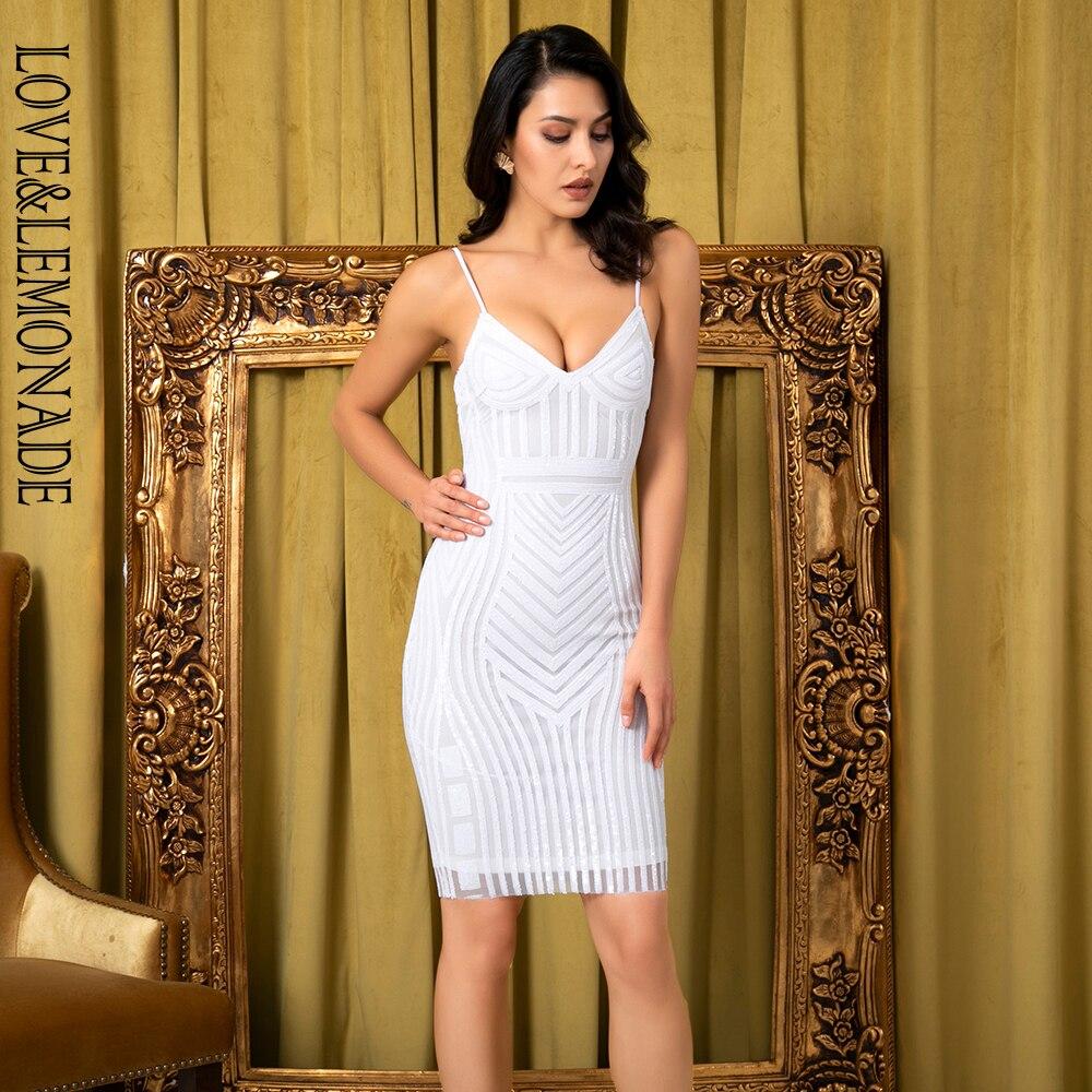 LOVE&LEMONADE Sexy White V-Neck Geometric Pattern Sequin Bodycon Party Dress LM81810