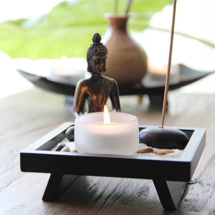 Moderne chinois en bois bouddha bougies parfumées Bougie décoration ameublement décoration cire bougies livraison gratuite