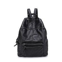 Мода черный женщины рюкзак дизайнер высокого качества ПУ кожа школьные сумки промывают кожа студент путешествия рюкзаки для подростков