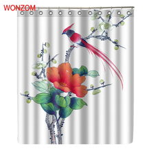 WONZOM Bird On Tree Modern Polyester Red Flower Waterproof Shower Curtains For Bathroom Fabric Bath Curtain With Hooks Gift