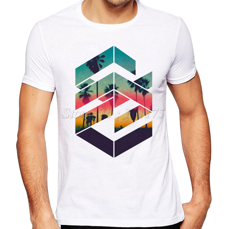 2019 Newest Summer Fashion Geometric Sunset Beach Design T Shirt  Men's Cool Design High Quality Tops Custom Hipster Tees