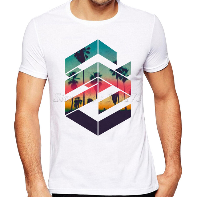 5b221acddad9 2019 Newest Summer Fashion Geometric Sunset beach Design T Shirt Men s Cool  Design High Quality Tops Custom Hipster Tees