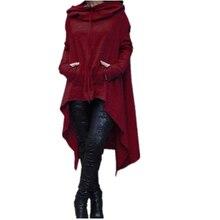 XS-XXXXXL черная одежда 2017 Для женщин карманов зима осень Толстовки шарф ошейник с длинным рукавом Мода Повседневное Стиль Пончо Кофты