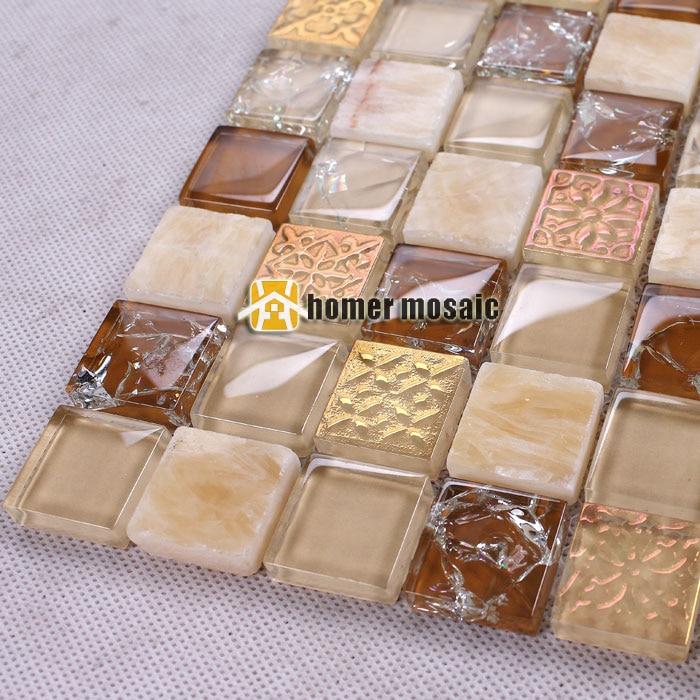 US $219.99  Symphonie gemischten braunen glas mosaik gemischte stein  fliesen für bad dusche fliesen küche backsplash fliesen HMEE010-in Tapeten  aus ...