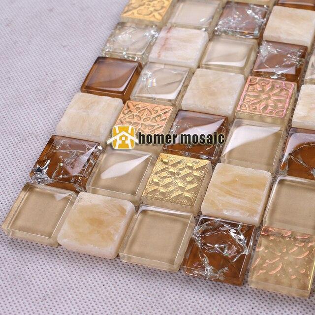 US $204.59 7% di SCONTO|Symphony misto marrone pietra mista mosaico di  piastrelle per bagno doccia piastrelle cucina a parete backsplash HMEE010  in ...