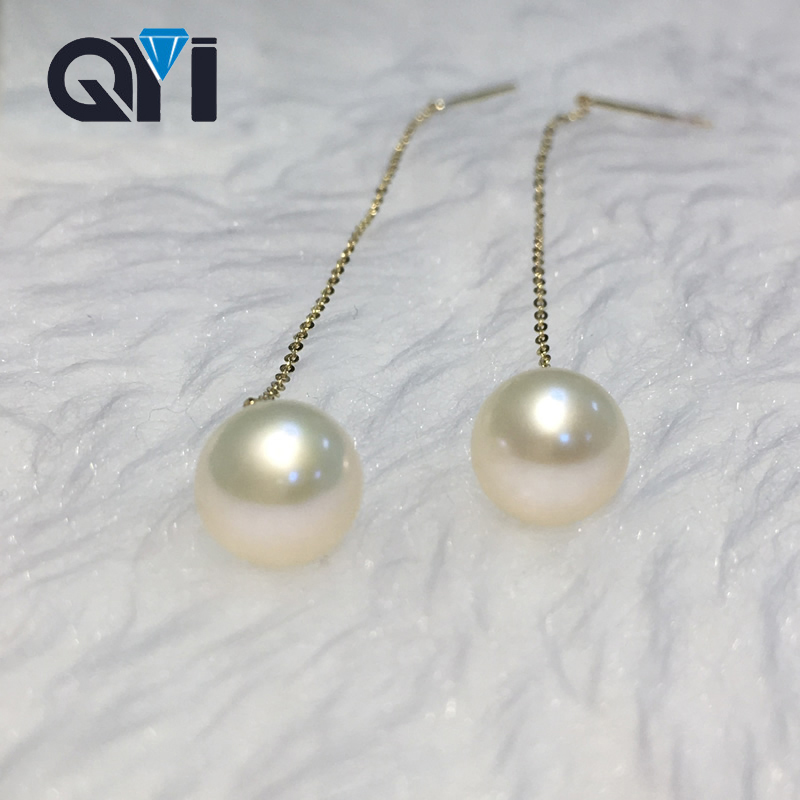QYI 18K Yellow Gold Trendy Earrings Natural Cultured Freshwater Pearl 8 8.5mm Round Pearl Earrings Jewelry