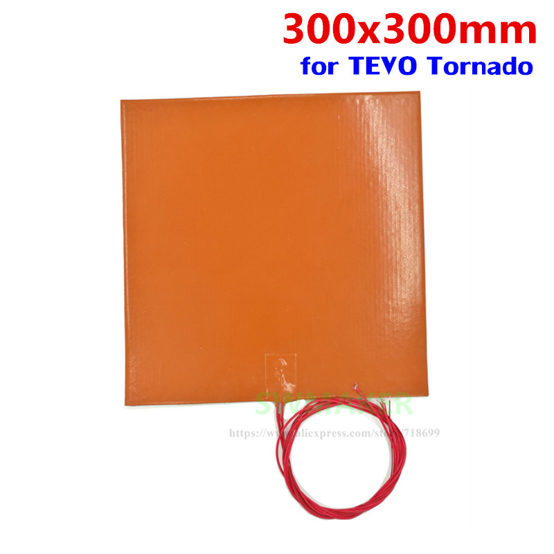110V 220V 500W Silicone heating pad heater 300x300mm 12 X 12 for DIY Reprap TEVO Tornado