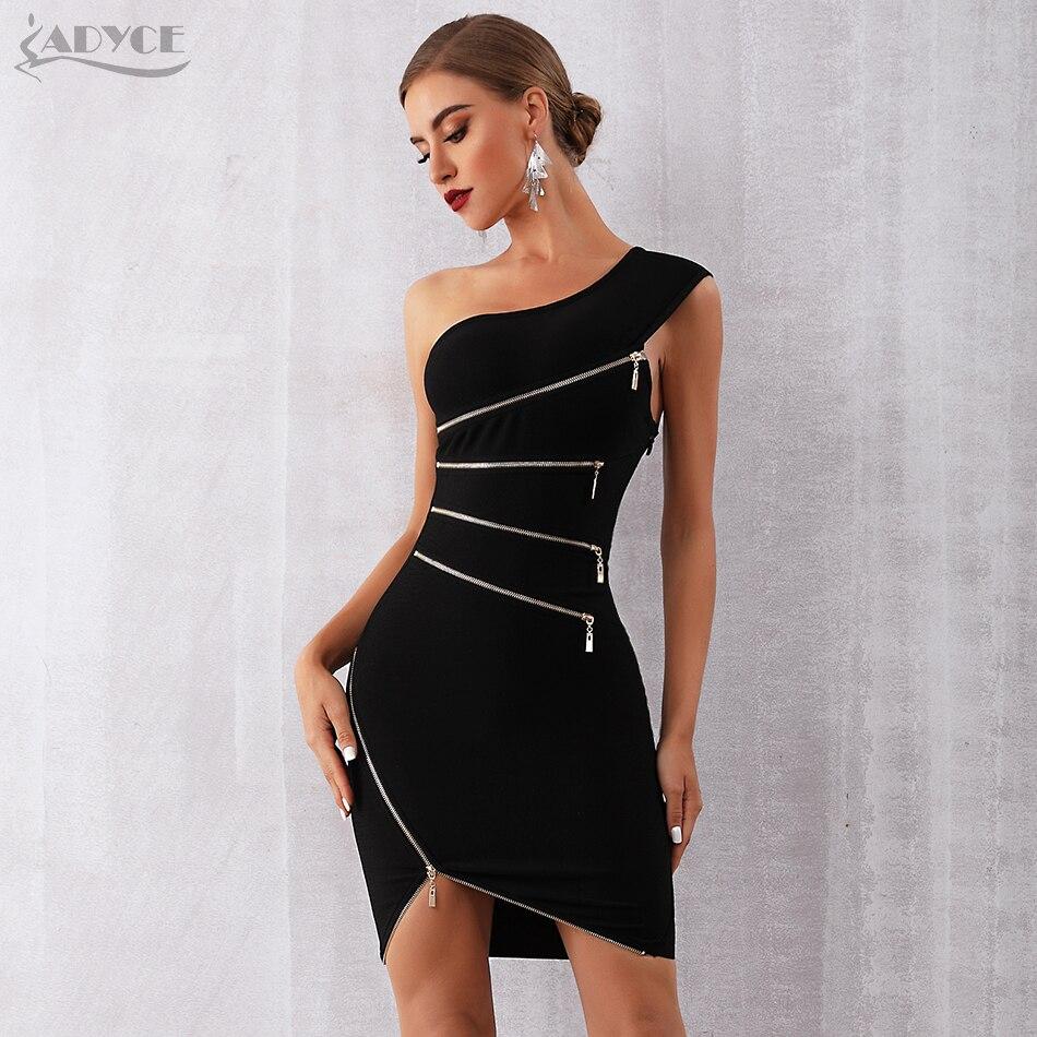 7c8745c13bf01 US $29.1 46% OFF|Aliexpress.com : Buy ADYCE 2019 New Summer Women Bandage  Dress Sexy One Shoulder Zipper Black Clubwear Dress Vestidos Celebrity ...