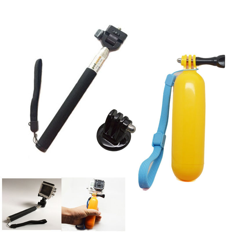 For GoPro Accessories kit Monopod Floating Bobber Tripod Mount Adapter For SJCAM sj4000 SJ5000 Gopro 5 4 3 EKEN H9 Xiao yi Cam
