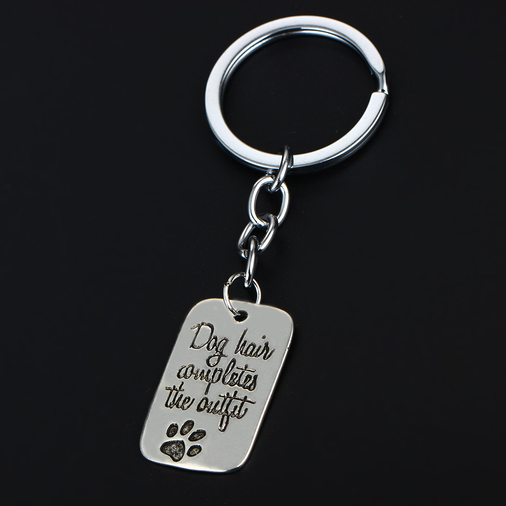Bespmosp Animal Dog Tag Cat Pet Paw Feet Rectangle Keyring For Women Men Party Charm Gift Keychain Silver Plated Pendant Jewelry
