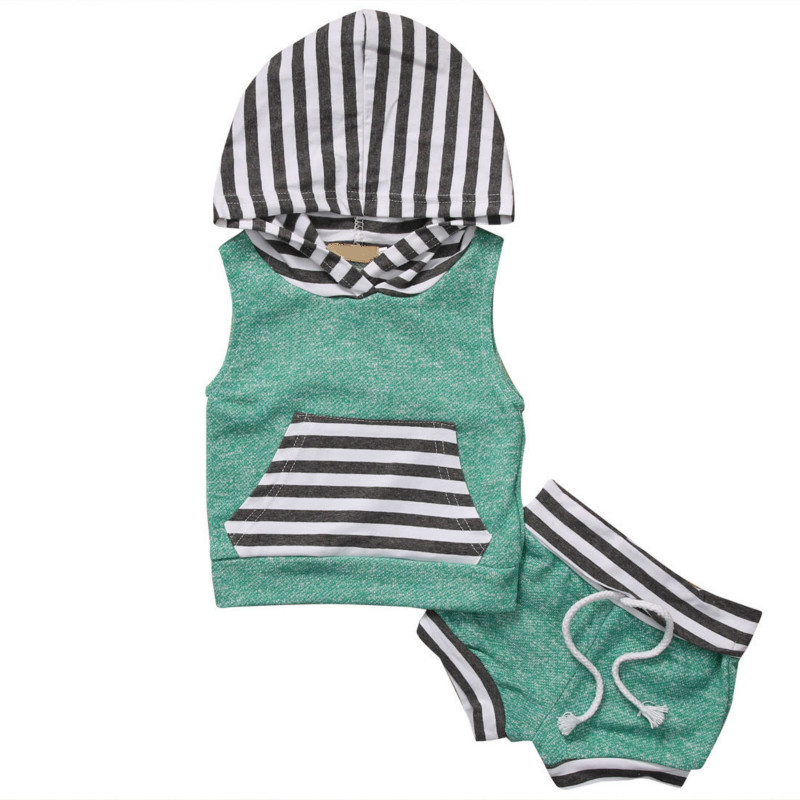 Cool Summer Hot Selling Baby Girl Boy Hooded Hoodie Vest Pocket Tops Short Pant Outfit Sleeveless Infant 2PCS Leisure Set 0-4Y hot 0 4y toddler baby boy girl clothes long sleeve hooded t shirt tops and striped pant 2pcs outfit kids clothing set tracksuit