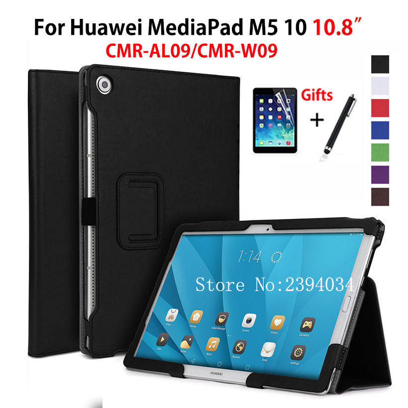 M5 10.8 inch Case For Huawei MediaPad M5 10 10.8 CMR-AL09 CMR-W09 Cover Funda Tablet Leather Hand Holder Stand Shell+Film+Pen silicone with bracket flat case for huawei mediapad m5 8 4 inch