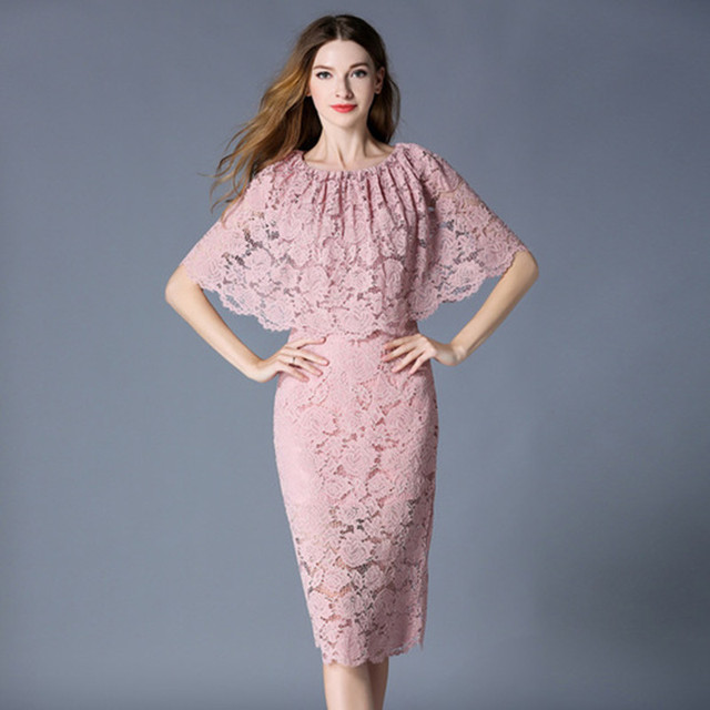 3dd11bff5e5 2019 Designer Summer Pink Black Lace Dress Women Elegant Cape Dresses Sexy  Evening Party Pencil Dresses