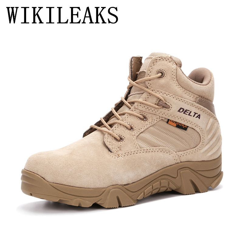 Haute qualité militaire bottes homme Véritable En Cuir Désert bottes hommes chaussures tactique bottes delta coturnos masculino militar askeri bot