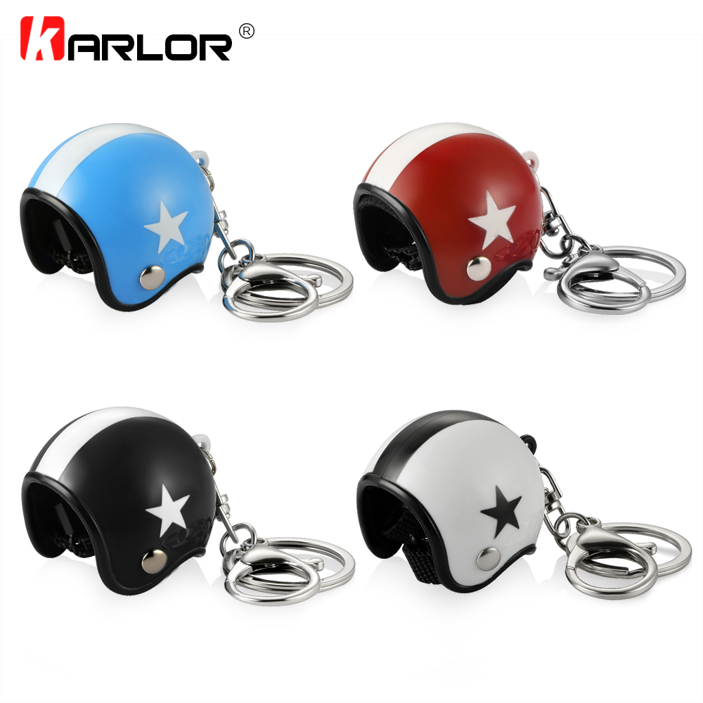 Creative Motorcycle Safety Helmets Car Auto Five-star Keychain Pendant Classic Key Ring Keyfob Casque Holder Car Accessories