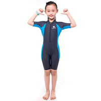 HXBY Short Sleeve Swimsuit Kids Girl Front Zipper Kids Swimming Suit One Piece Swimsuit for Girls Tight