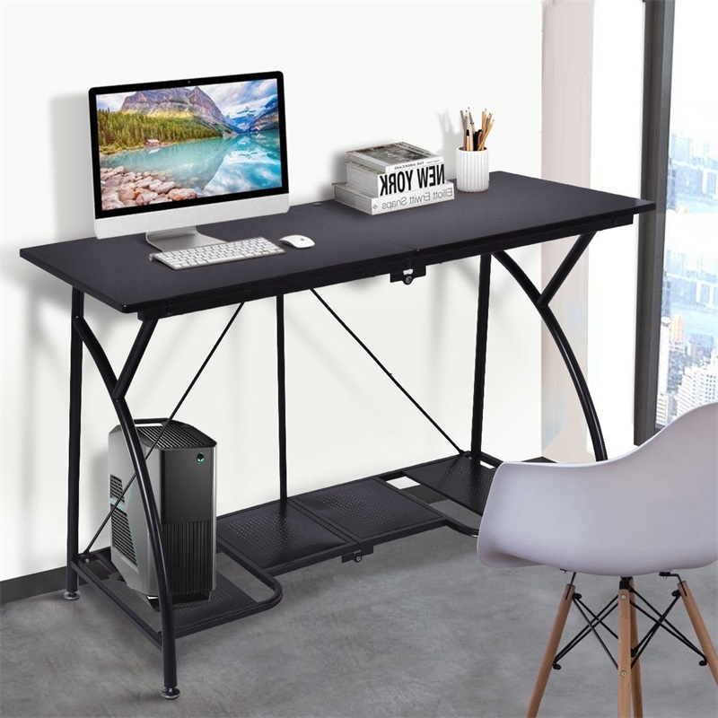 US $101.22 45% OFF|Modern Folding Computer Desk Writing Table Simple Design  High Quality Black Laptop PC Table with Bottom Storage Shelf HW52227-in ...