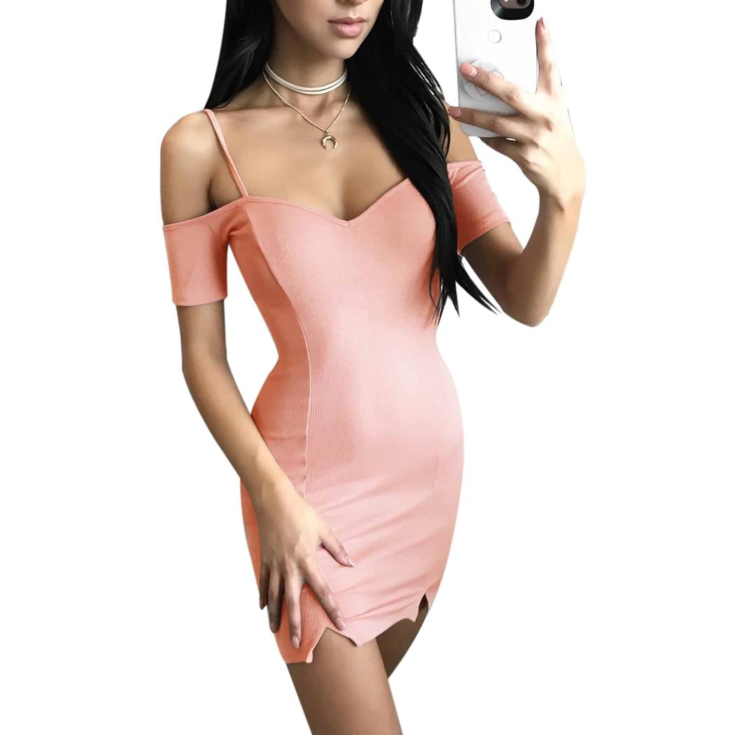2018 Summer Off Shoulder Strap Dress Women Sexy Short Sleeve V-Neck Mini Dress Bodycon Ladies Elegant Slim Party Dresses Vestido