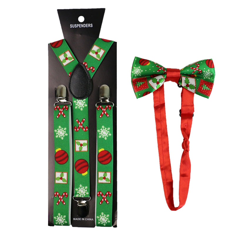 Fashion Christmas Gift Print Suspenders And Bowtie Set Clip-on Elastic Y-Shape Back Shirt Stays Braces Suspenders For Women Men