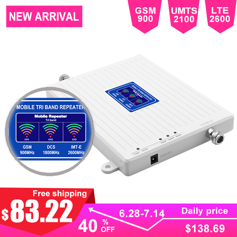 GSM Repeater 2G 3G 4G Signal Amplifier Triband 900 2100 2600MHz AGC 70dB Gain LCD Display 2G Voice 2G 3G 4G Internet Wide Band -