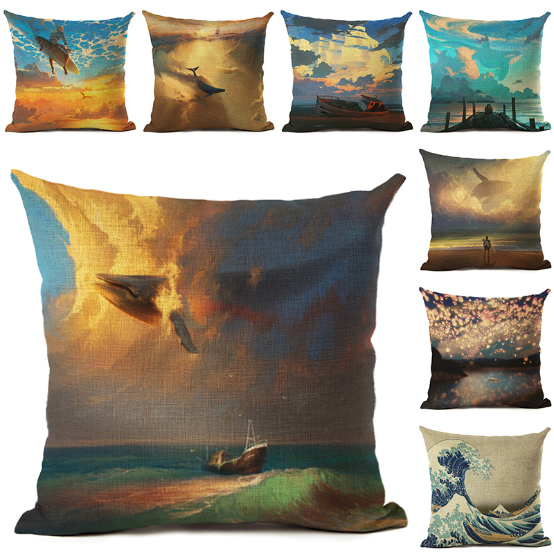 Fashion Style Sunset Throw Pillow Cushion Cover Home Decor Printed Linen Square Home Decor Pillowcase