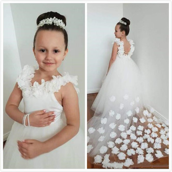 Beautiful Flower Girl Dresses 3D Flowers Little Girl Dresses for Wedding Child Pageant Birthday Gowns Communion Dress Size2-16Y
