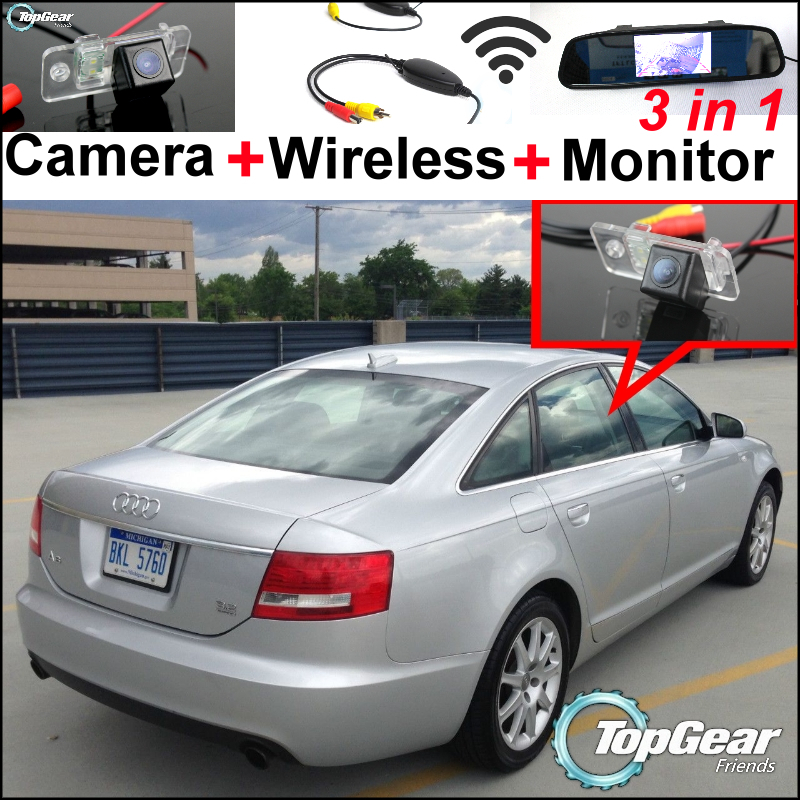 3in1 Special WiFi Camera + Wireless Receiver + Mirror Monitor Easy DIY Parking System For Audi A6 / C6 / S6 / RS6 2005~2009 wireless pager system 433 92mhz wireless restaurant table buzzer with monitor and watch receiver 3 display 42 call button