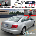 3in1 Special WiFi Camera + Wireless Receiver + Mirror Monitor Easy DIY Parking System For Audi A6 / C6 / S6 / RS6 2005~2009