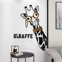 Мультфильм Жираф 3D стены Стикеры для детской комнаты полидисперсным жираф стены наклейки для мебели холодильник дома