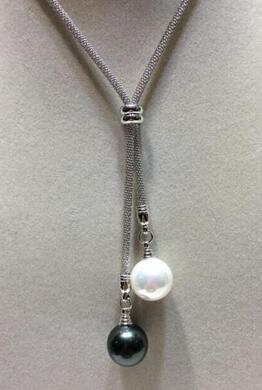 wholesale 26 14mm white black south sea shell pearl necklace women's jewelry silver image
