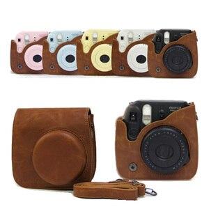 Image 5 - Per Fujifilm Instax Mini 8 Mini 9 Macchina Fotografica DELLUNITÀ di elaborazione di Cuoio del Sacchetto di Colore Instax Mini caso con Cinghia di Spalla Trasparente di Cristallo copertura