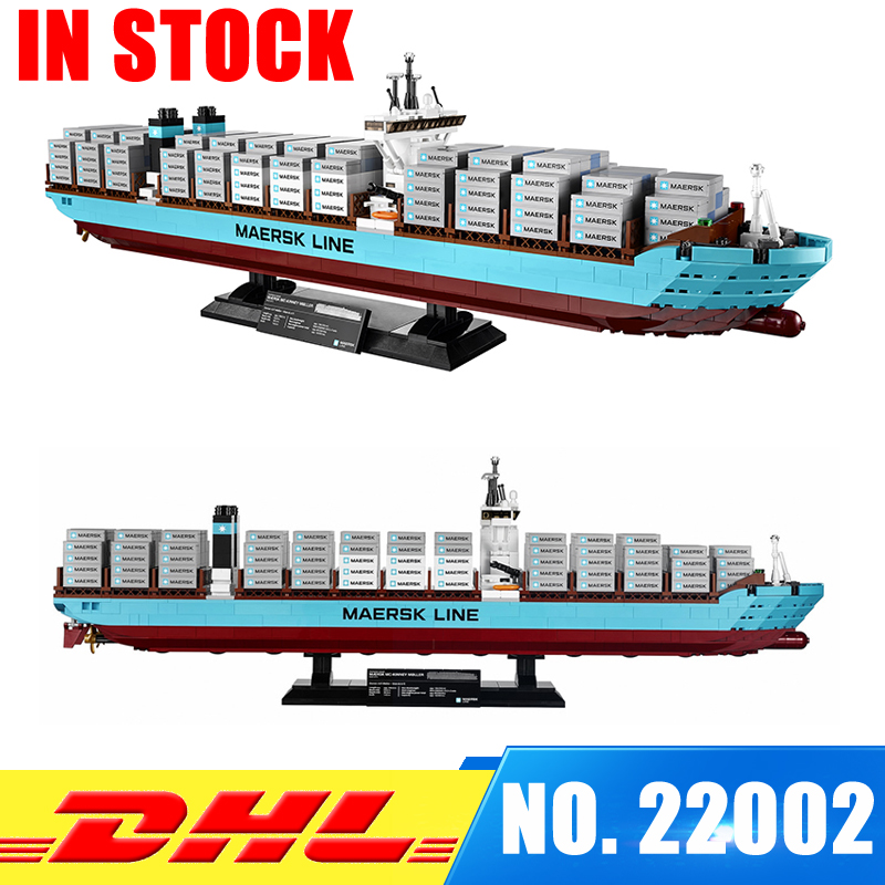 In Stock Lepin 22002 Technic Series The Maersk Cargo Container Ship Set Educational Building Blocks Bricks Model Toys Gift 10241 lepin 22002 1518pcs the maersk cargo container ship set educational building blocks bricks model toys compatible legoed 10241