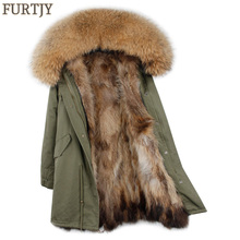 2019 long winter jacket women outwear thick parkas raccoon natural real fur collar coat hooded real warm fox fur liner real fox fur coat winter jacket women natural big fox fur collar hooded thick warm featheriner parkas