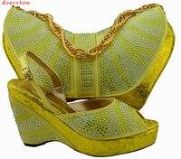 Doershow Amarillo! al por mayor de las señoras Italianas zapatos y bolsas establecidas! de alta calidad zapatos y bolsos a juego para la boda Africana! HQJ1-27