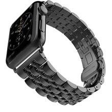 Venda de Reloj de Metal de Acero Inoxidable de 7 Puntos para Apple Reloj Correa Negro Plata Oro Rosa Mariposa Broche Pulsera SG463