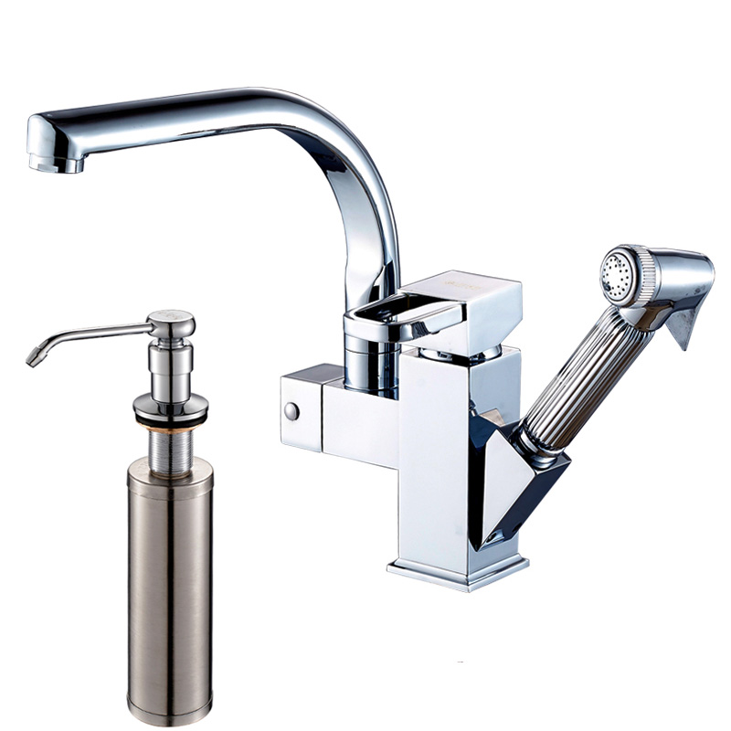 Dual Spouts Pull Out Sprayer Single Handle Hole Kichen Faucet Deck Mounted Brass Chrome Vessel Sink Mixer Tap new pull out sprayer kitchen faucet swivel spout vessel sink mixer tap single handle hole hot and cold