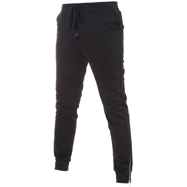 Mens Joggers 2016 Marca Pantalones Masculinos Hombres Pantalones Casuales Pantalones de Chándal Basculador Diseño de la Cremallera Sólido Legging Pantalones