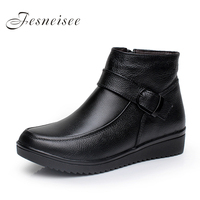 New Genuine Leather Women Boots Flat Heel Soft Cowhide Women S Shoes Antiskid Sole Ankle Single