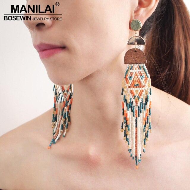 MANILAI в богемном стиле ручной работы из бисера Длинные серьги с кисточками для Для женщин с разноцветными бусинами-подвесы с украшение из этнических сережек