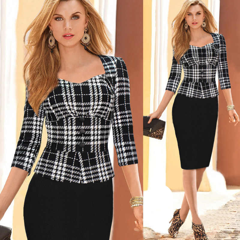 ada4014e359 Womens Elegant plaid Wear To Work Office Business Party Casual Summer  Bodycon Slim Fitted Pencil Dress