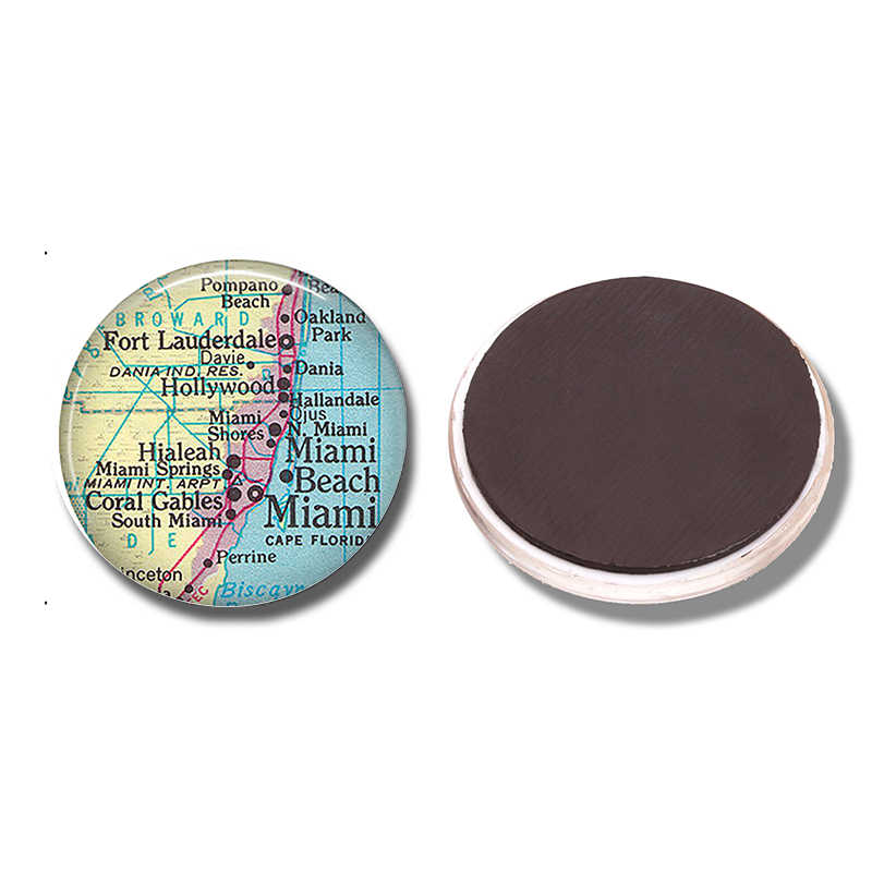 Miami Kaart 30 MM Magneet Ft Lauderdale Coral Gables Kaart Glas Cabochon Magnetische Koelkast Stickers Note Holder Home Decor
