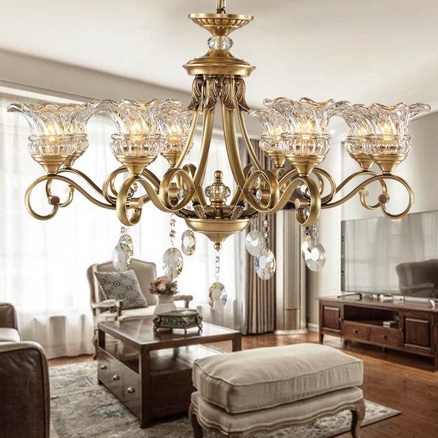 df09c48ff5a All copper European chandelier crystal full copper chandelier living room  chandelier bedroom dining room lamp chandelier