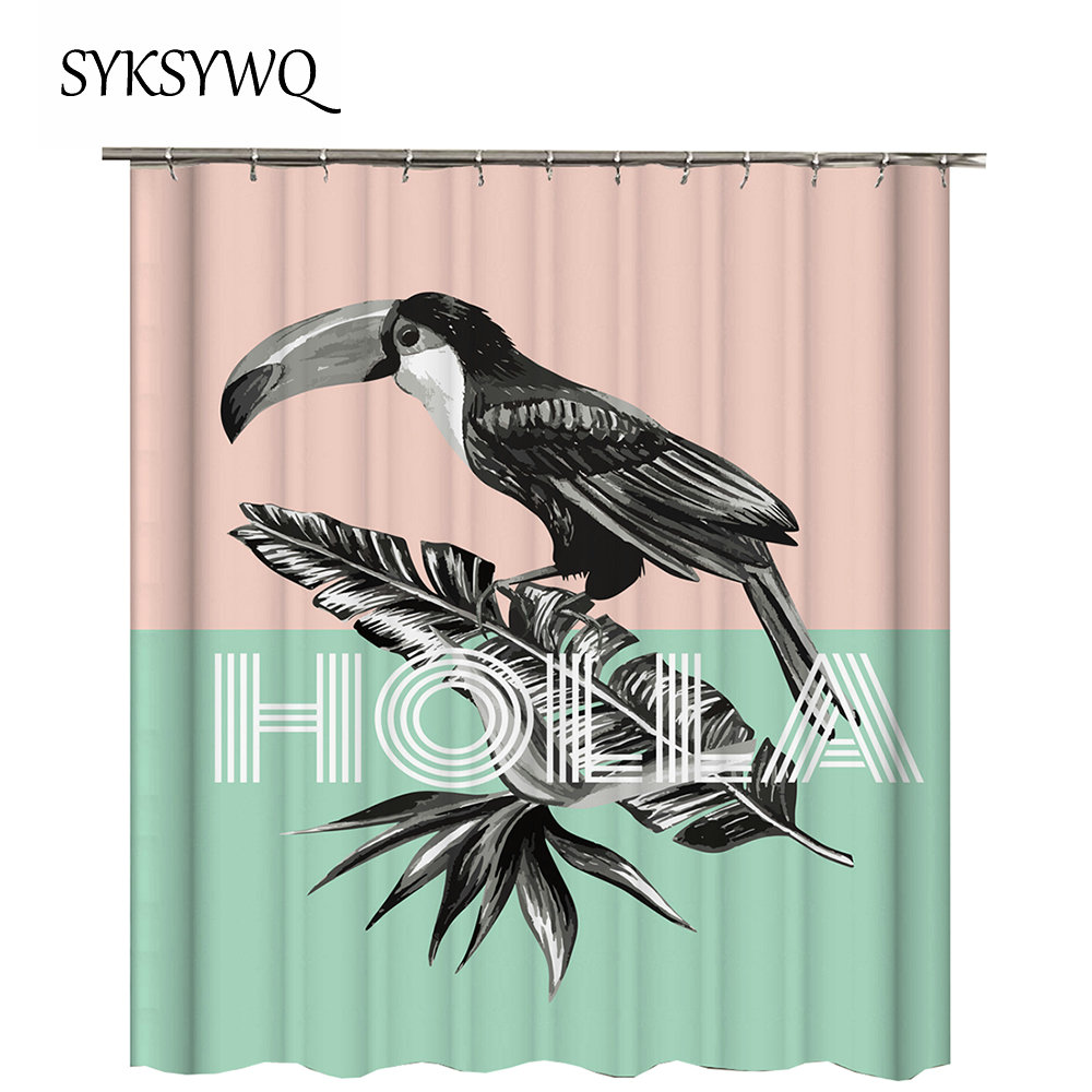 Bird Bath Curtain Bathroom Waterproof Toucan Bird Rideaux Salle De
