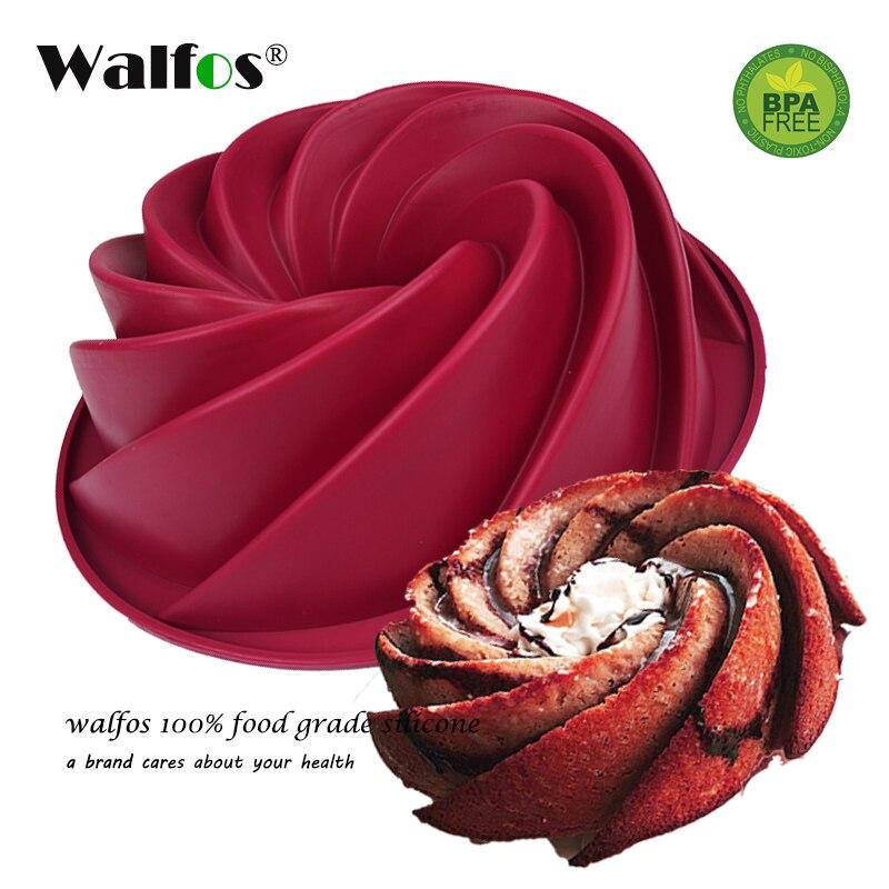 Walfos grado alimenticio 25*9 cm gran remolino forma molde de la torta de la mantequilla del silicón forma hornear Herramientas para el molde de la torta panadería hornear Utensilios para hornear
