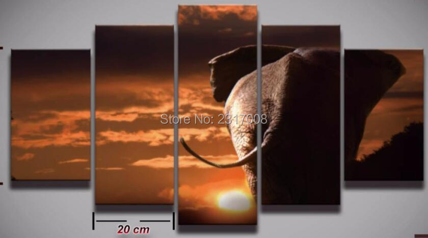 Spray Printed African elephant picture painting canvas art frame 5 panels sunset landscape wall decor for room home Print poster