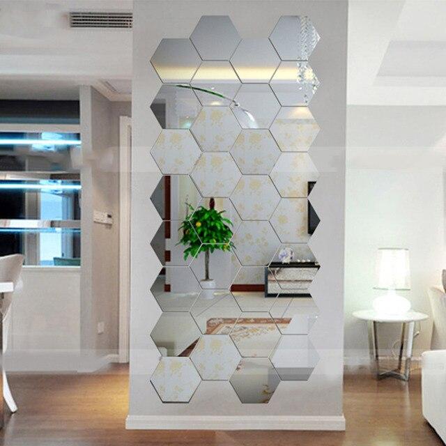 Super deal esagonale 3d specchi adesivi murali home decor for Specchi adesivi murali