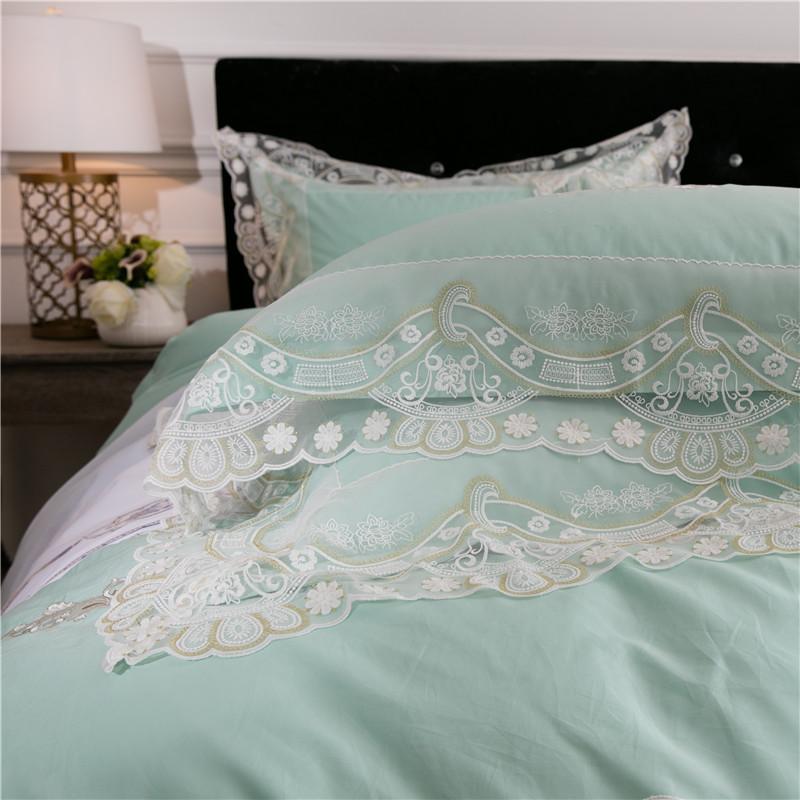 Blanc vert dentelle couvre lit ensemble satin coton égyptien draps