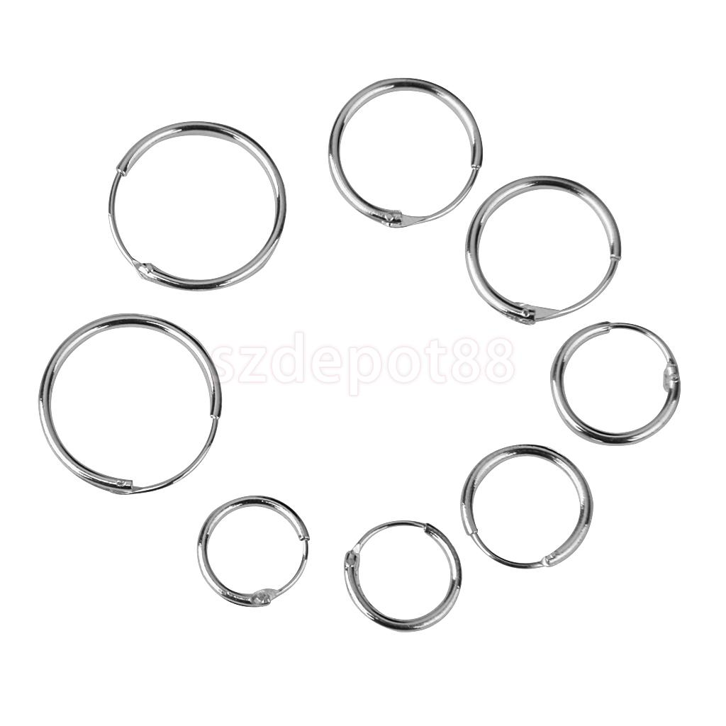 4 Pairs Silver Endless Round Hoop Sleeper Earrings 8 10 12 14mm