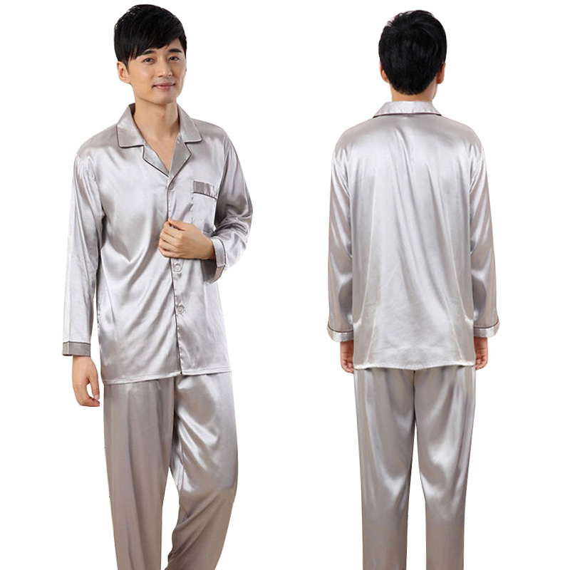 Men Sleepwears Faux Silk Pajamas Male Homewear Men Nightgowns Satin Pajamas Sets 2 Pcs S72