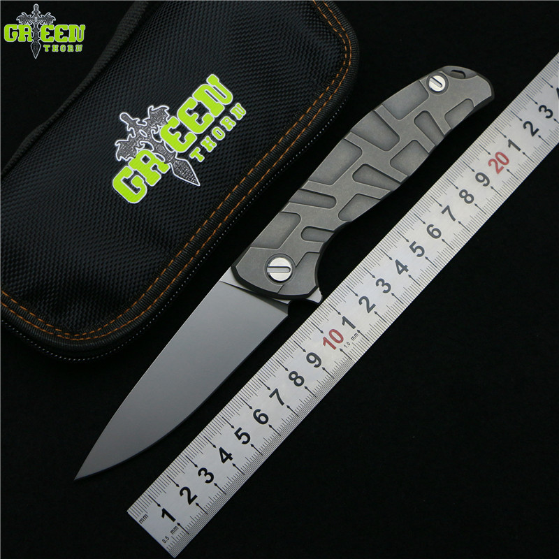 Green thorn Flipper 95 D2 steel blade T mode Titanium handle outdoor camping hunting pocket kitchen fruit folding knife EDC tool green thorn made dark flipper folding knife d2 titanium blade g10 handle outdoor survival hunting camping fruit knife edc tools